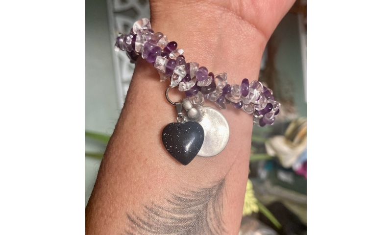 Dream Manifester -Amethyst and Aqeeq bracelet with Antique Indian silver Charm