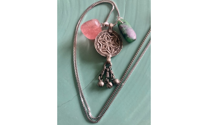 Flower of Life - Ruby Zoisite, Pink Agate and Antique Indian Silver